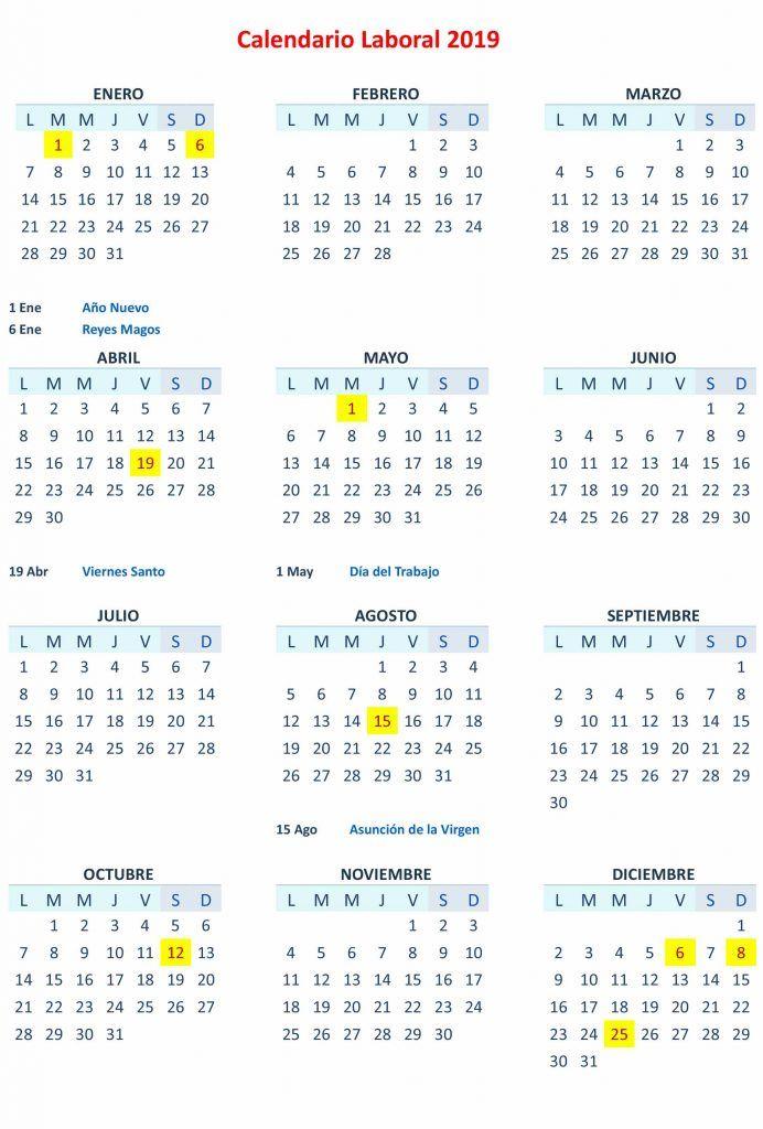 Calendario Laboral 2019 Andalucia.Calendario Laboral 2019